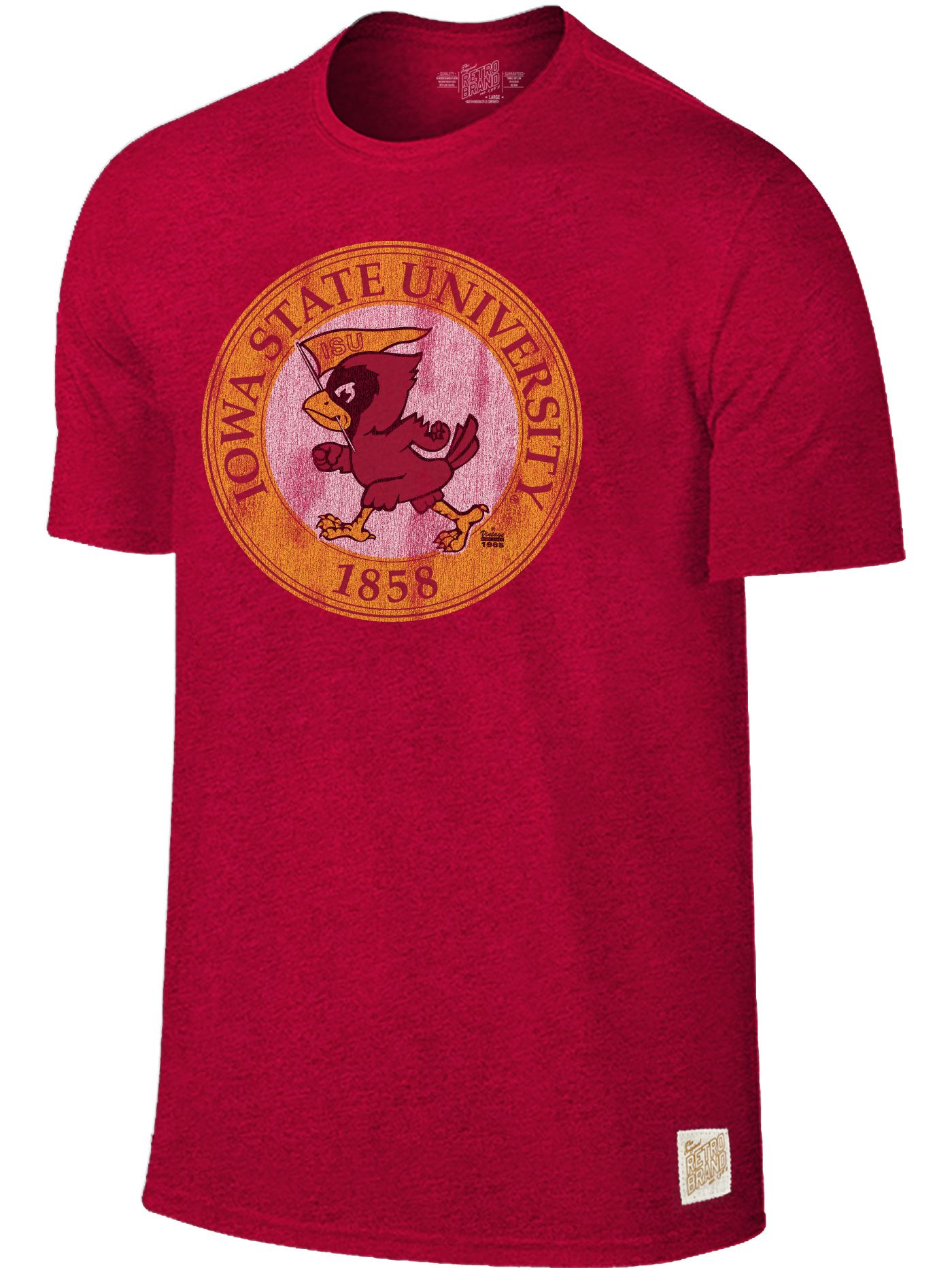 Original Retro Brand Men's Iowa State Cyclones Cardinal Mock Twist T-Shirt