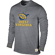 Original Retro Brand Men's West Virginia Mountaineers Grey Tri-Blend Long Sleeve T-Shirt