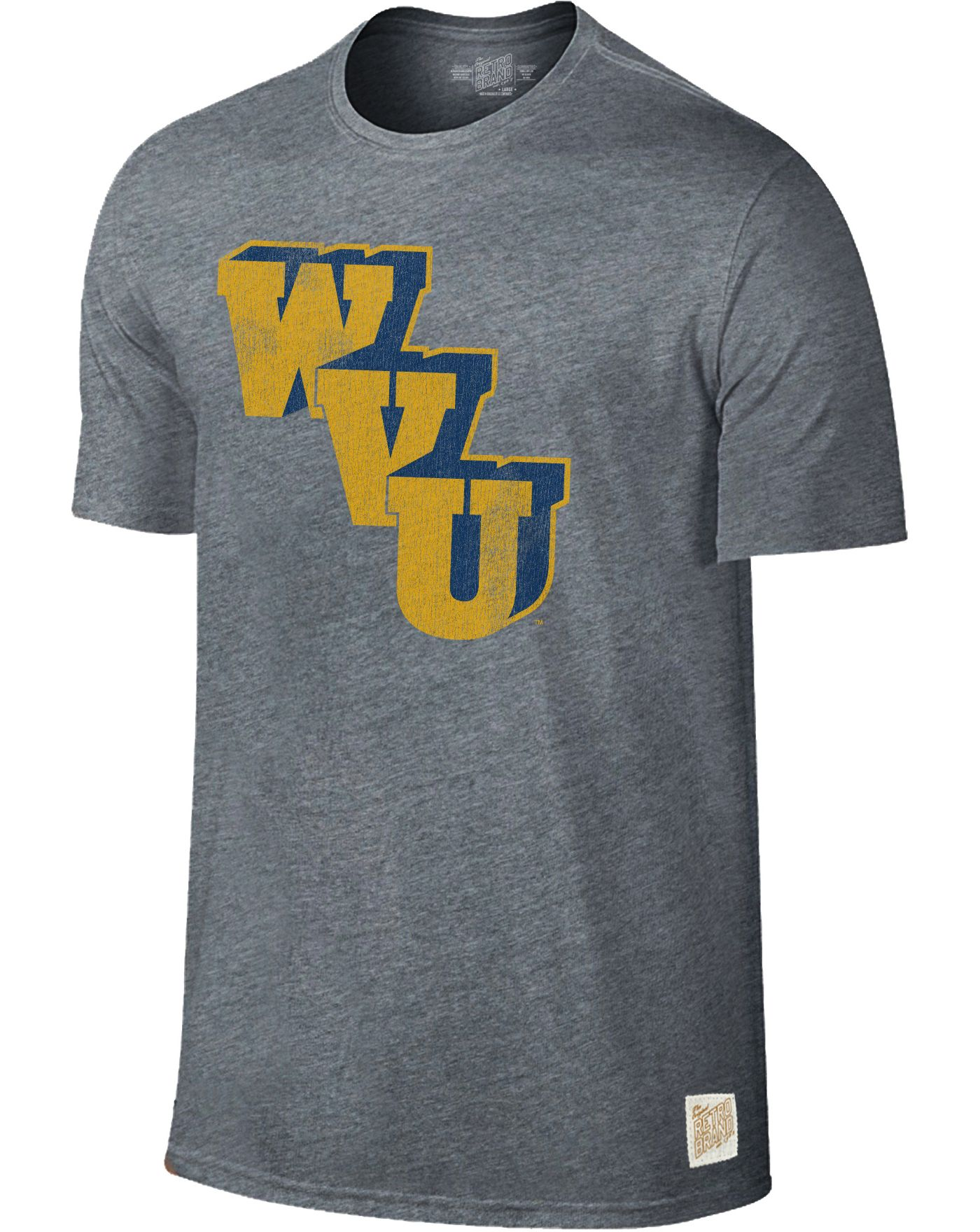 Original Retro Brand Men's West Virginia Mountaineers Grey Retro Tri-Blend T-Shirt