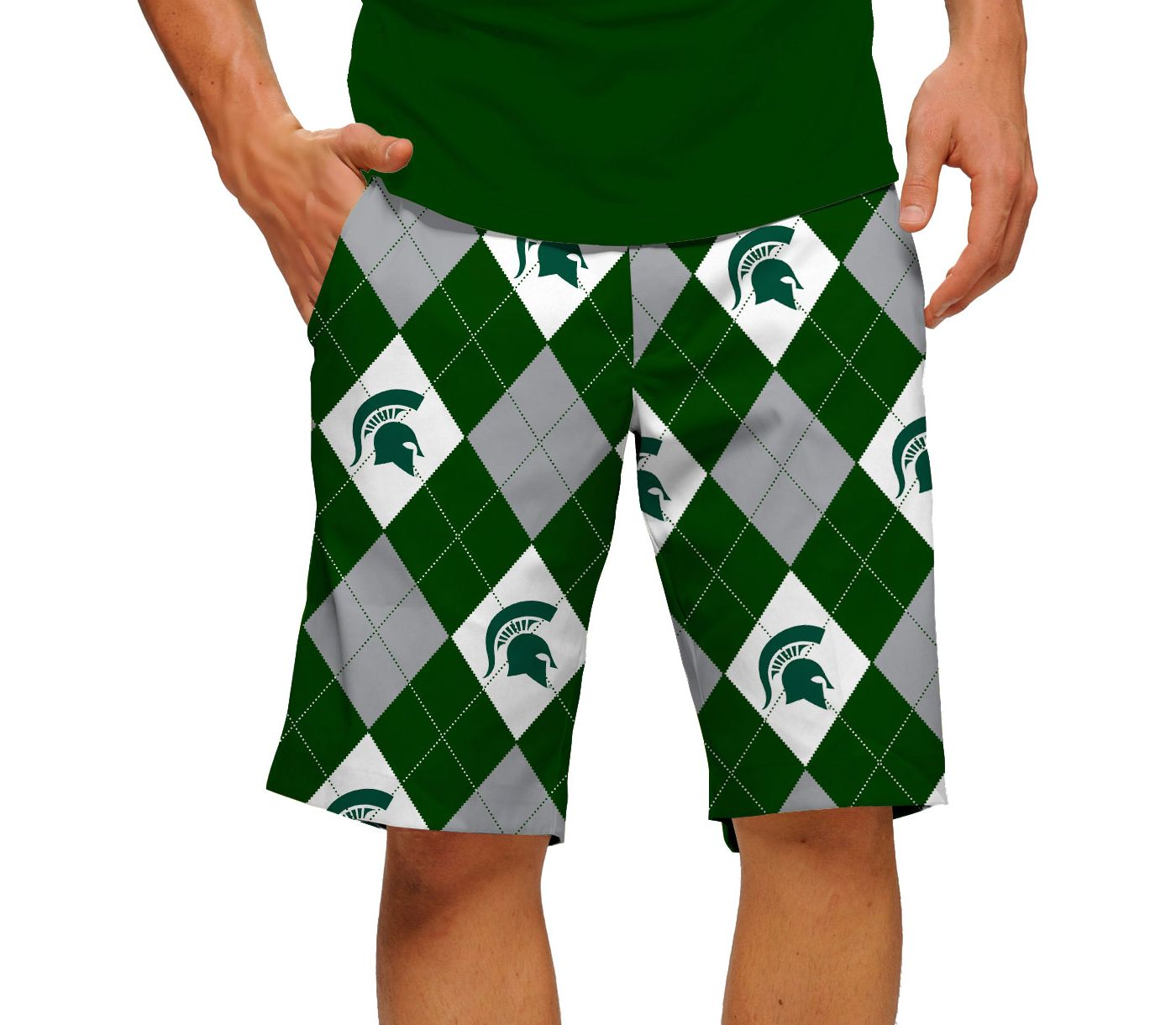 Loudmouth Men's Michigan State Spartans 'Sparty On' Golf Shorts