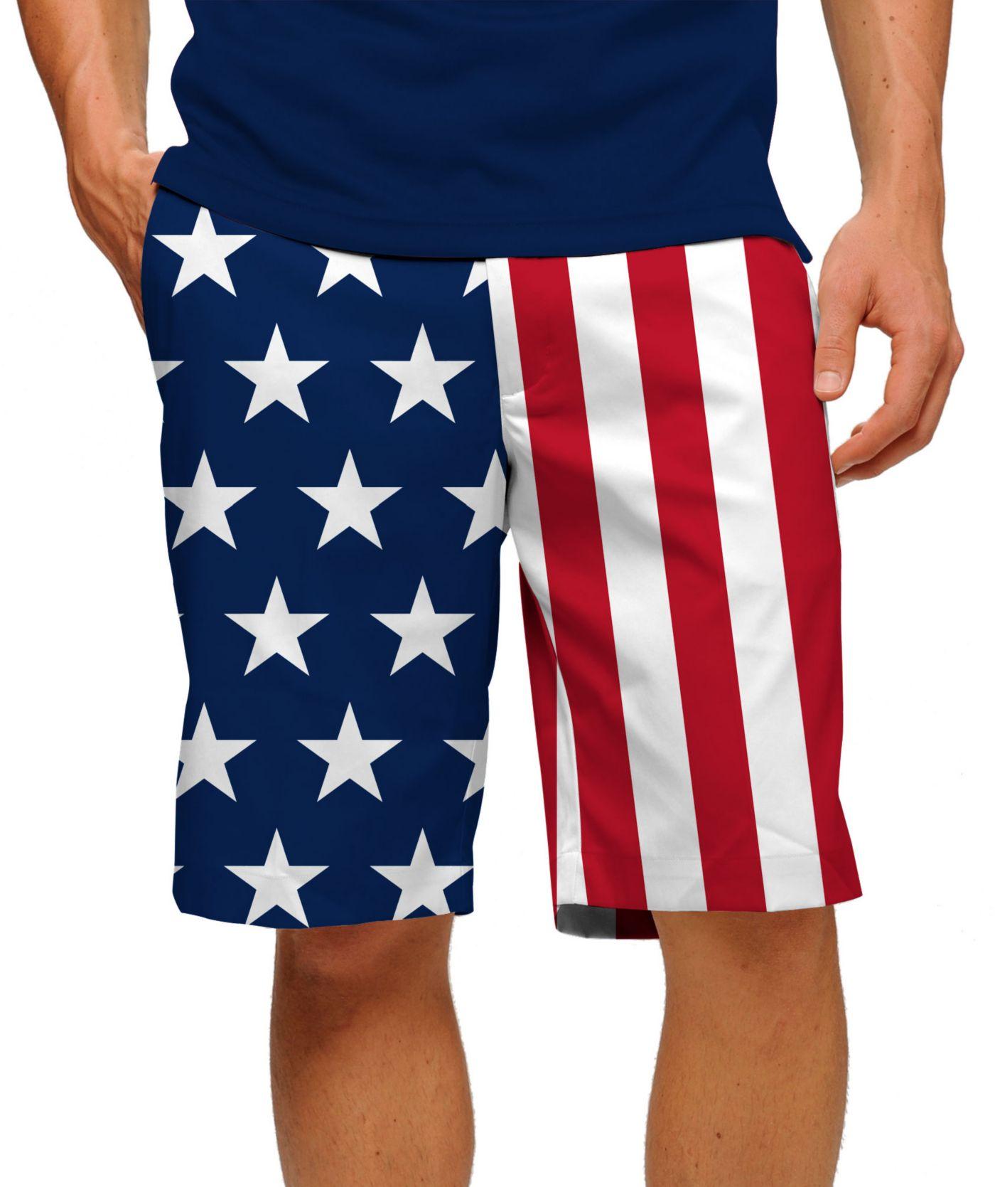 Loudmouth Men's Stars & Stripes Stretch Tech Golf Shorts