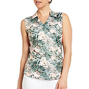Lady Hagen Women's Tropical Print Sleeveless Golf Polo