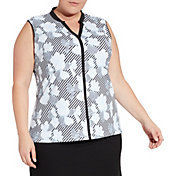Lady Hagen Women's Empower Collection Floral Print Sleeveless Golf Polo - Extended Sizes