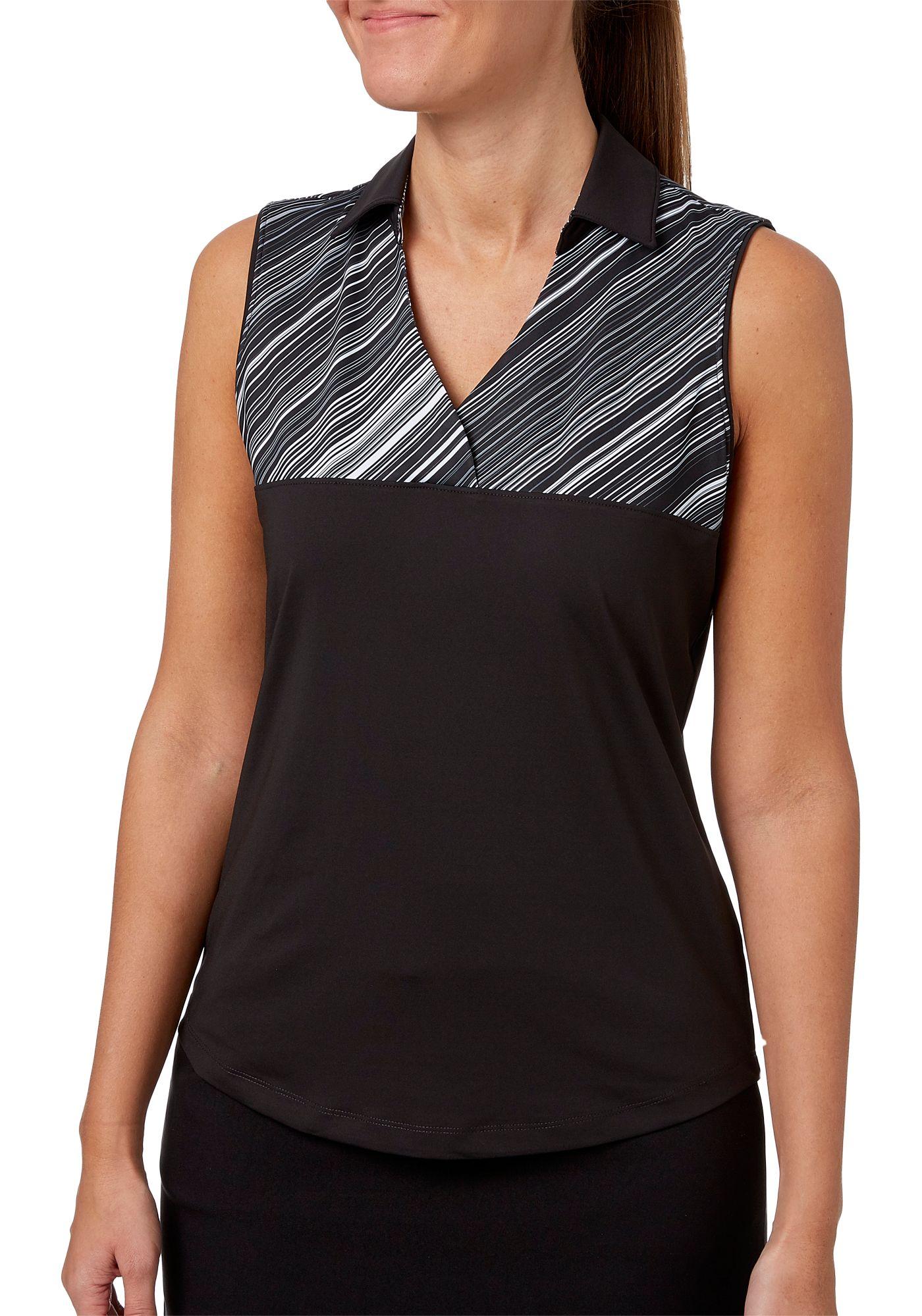 Lady Hagen Women's Empower Collection Printed Stripe Yoke Sleeveless Golf Polo