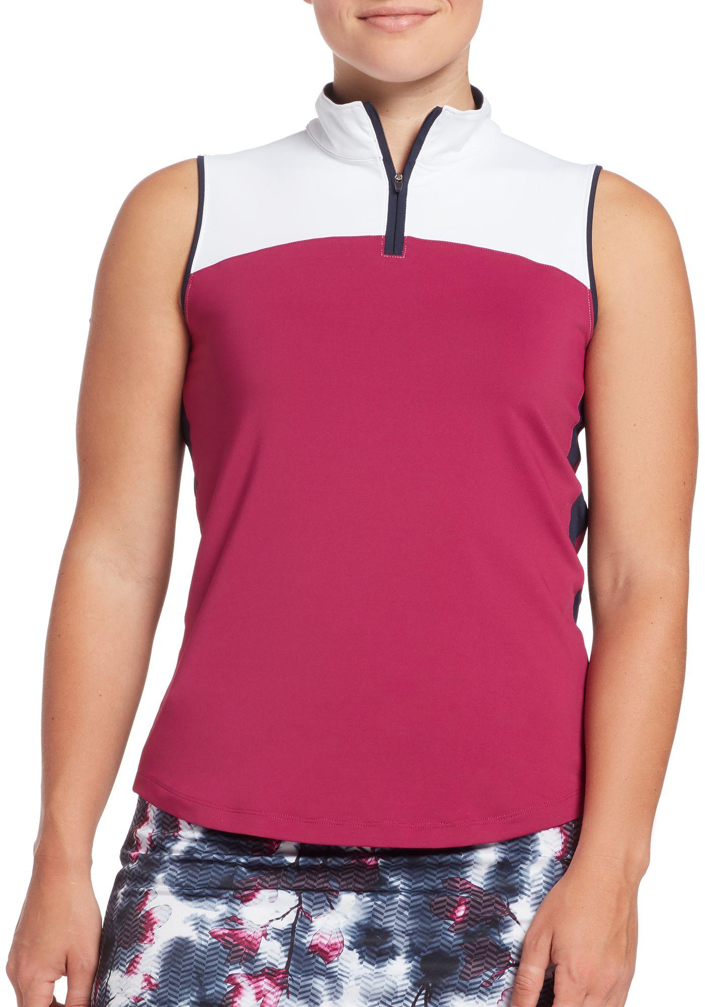 Lady Hagen Women's Colorblock Mock Neck Sleeveless Golf Polo