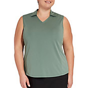 Lady Hagen Women's Solid Sleeveless Golf Polo - Extended Sizes