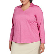 Lady Hagen Women's Spacedye Long Sleeve Golf Polo – Extended Sizes