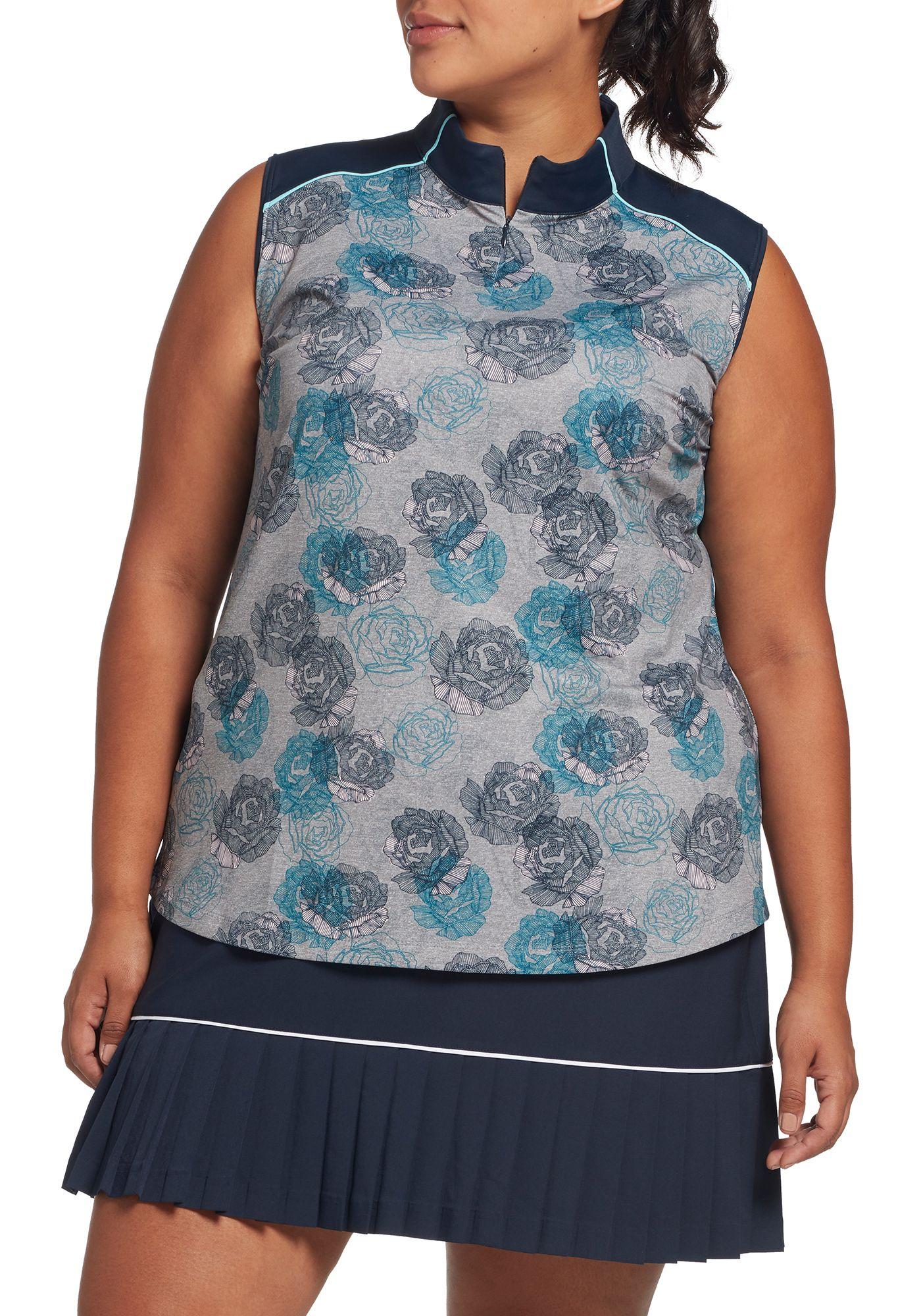 Lady Hagen Women's Floral Print Mock Neck Sleeveless Golf Polo – Extended Sizes