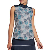 Lady Hagen Women's Floral Print Mock Neck Sleeveless Golf Polo