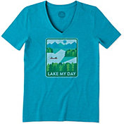 Life is Good Women's Lake My Day Poster Cool V-Neck T-Shirt