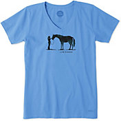 Life is Good Women's Besties Horse Crusher V-Neck T-Shirt