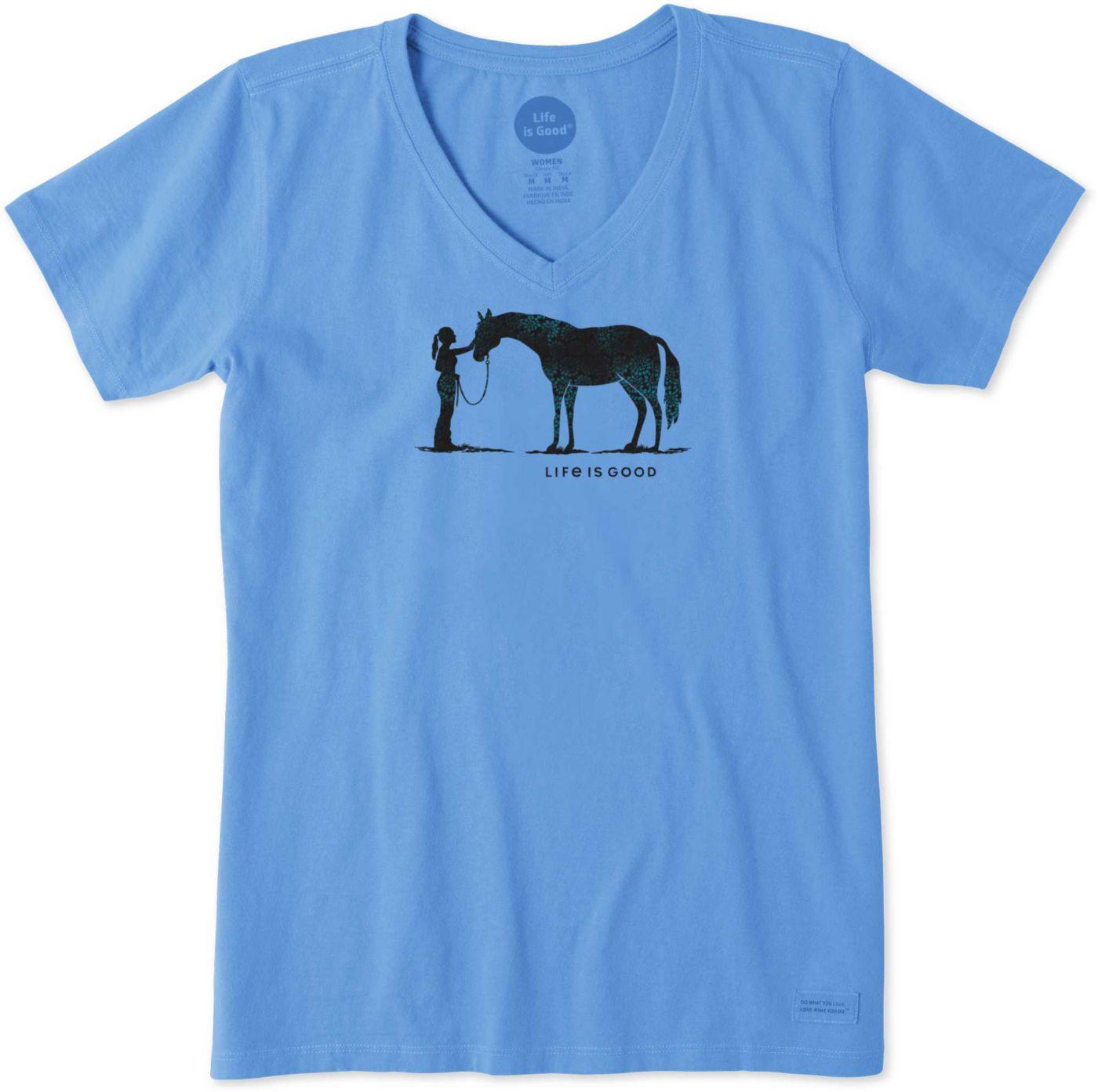 Life is Good Women's Besties Horse Crusher V-Neck T-Shirt