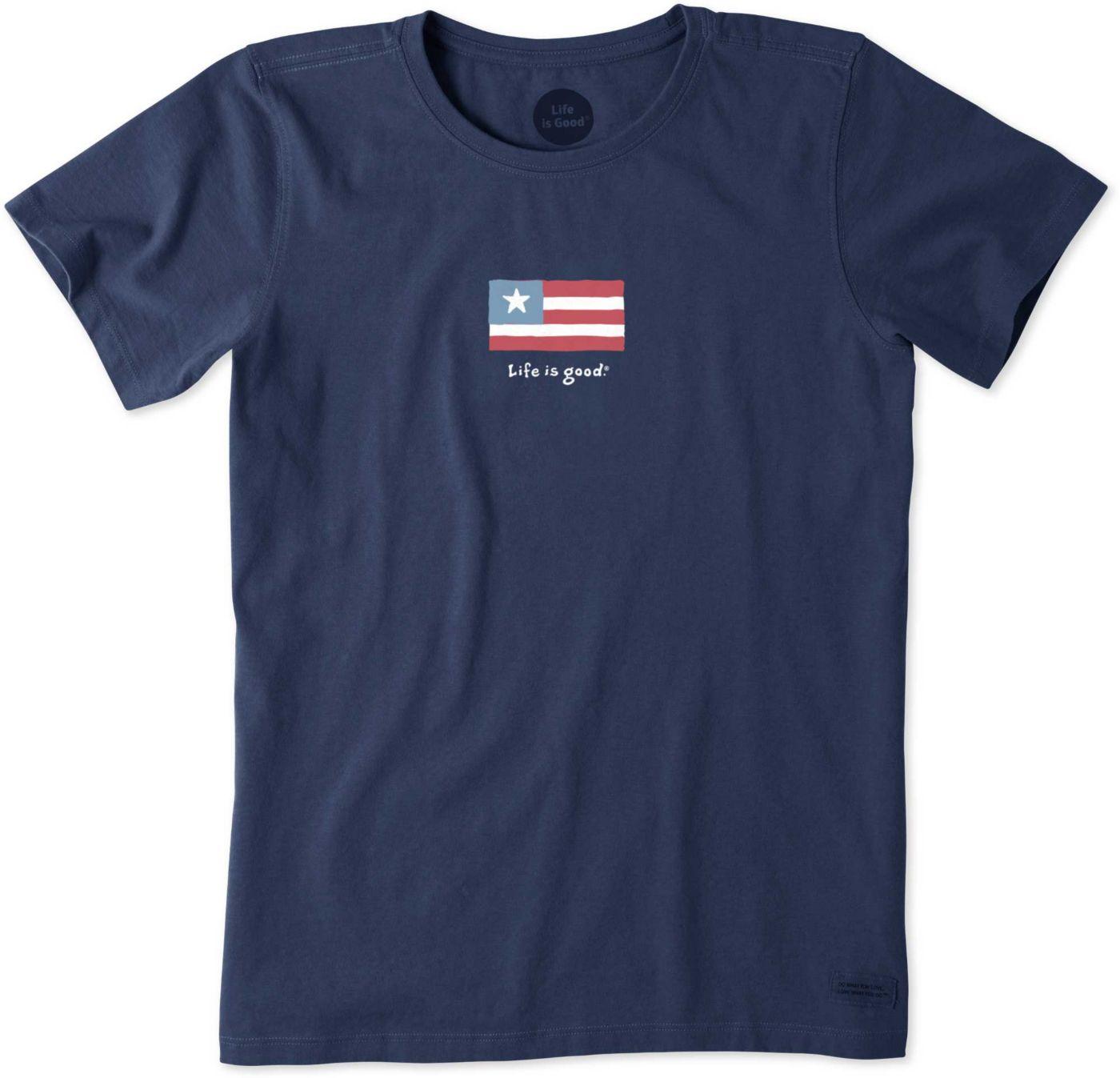 Life is Good Women's Vintage Three Stripe Flag Crusher T-Shirt