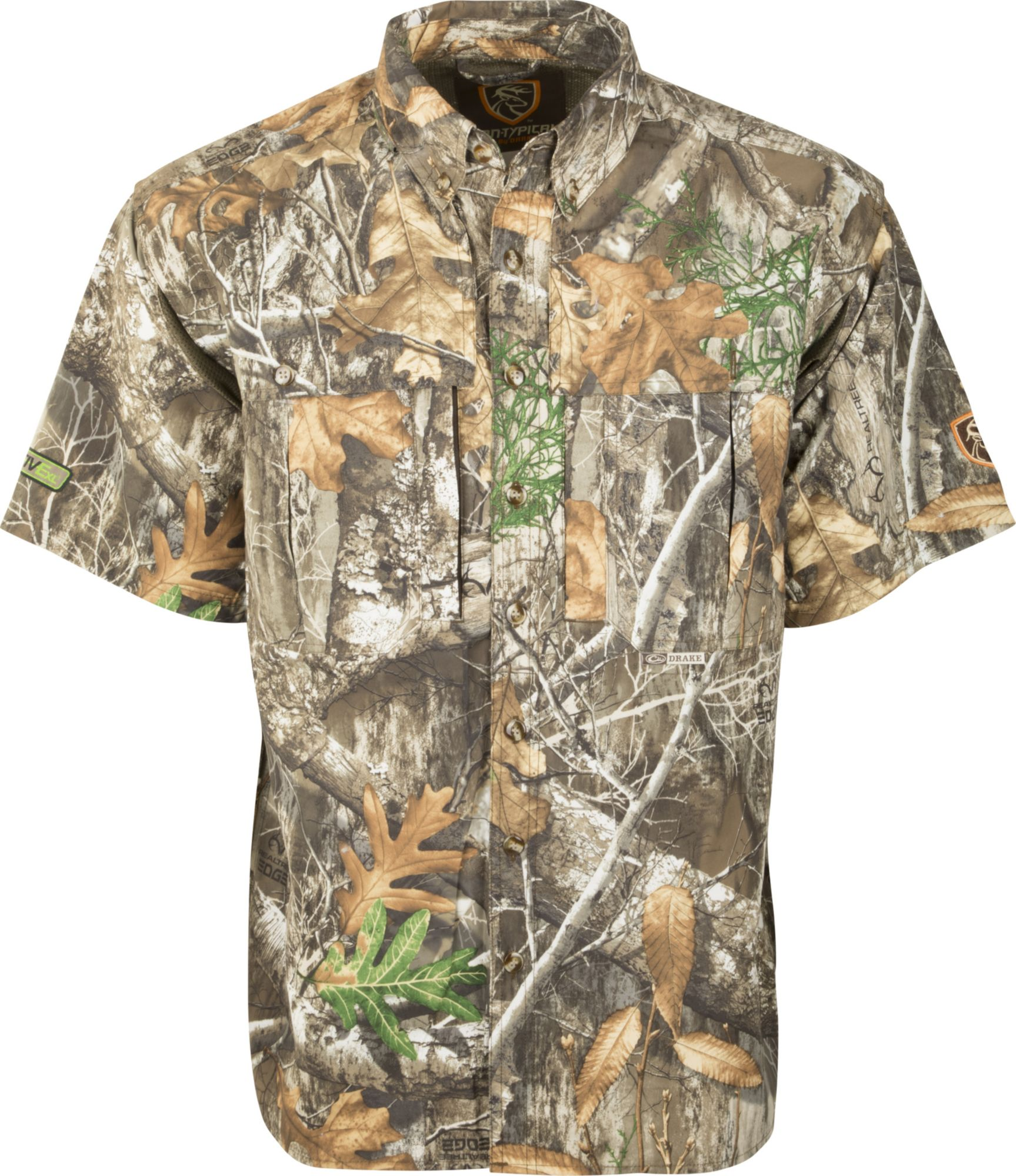 Drake Waterfowl Men's Non-Typical Dura-Lite Short Sleeve Shirt with Agion Active XL, Size: Small, Green thumbnail