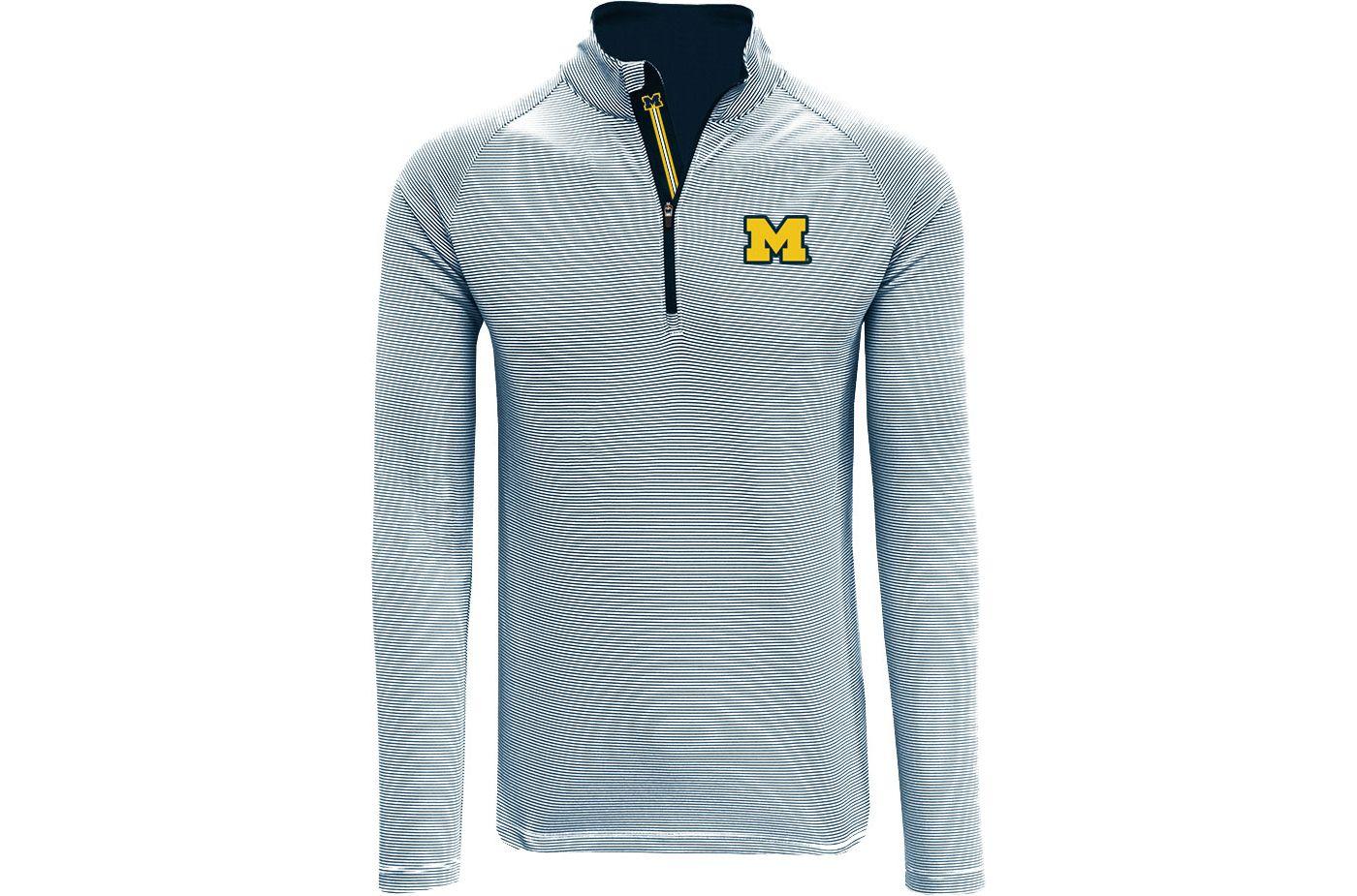 Levelwear Men's Michigan Wolverines Blue Orion Quarter-Zip Shirt