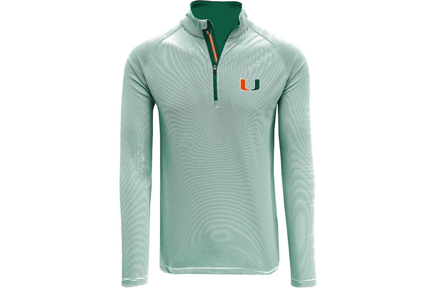 Levelwear Men's Miami Hurricanes Green Orion Quarter-Zip Shirt