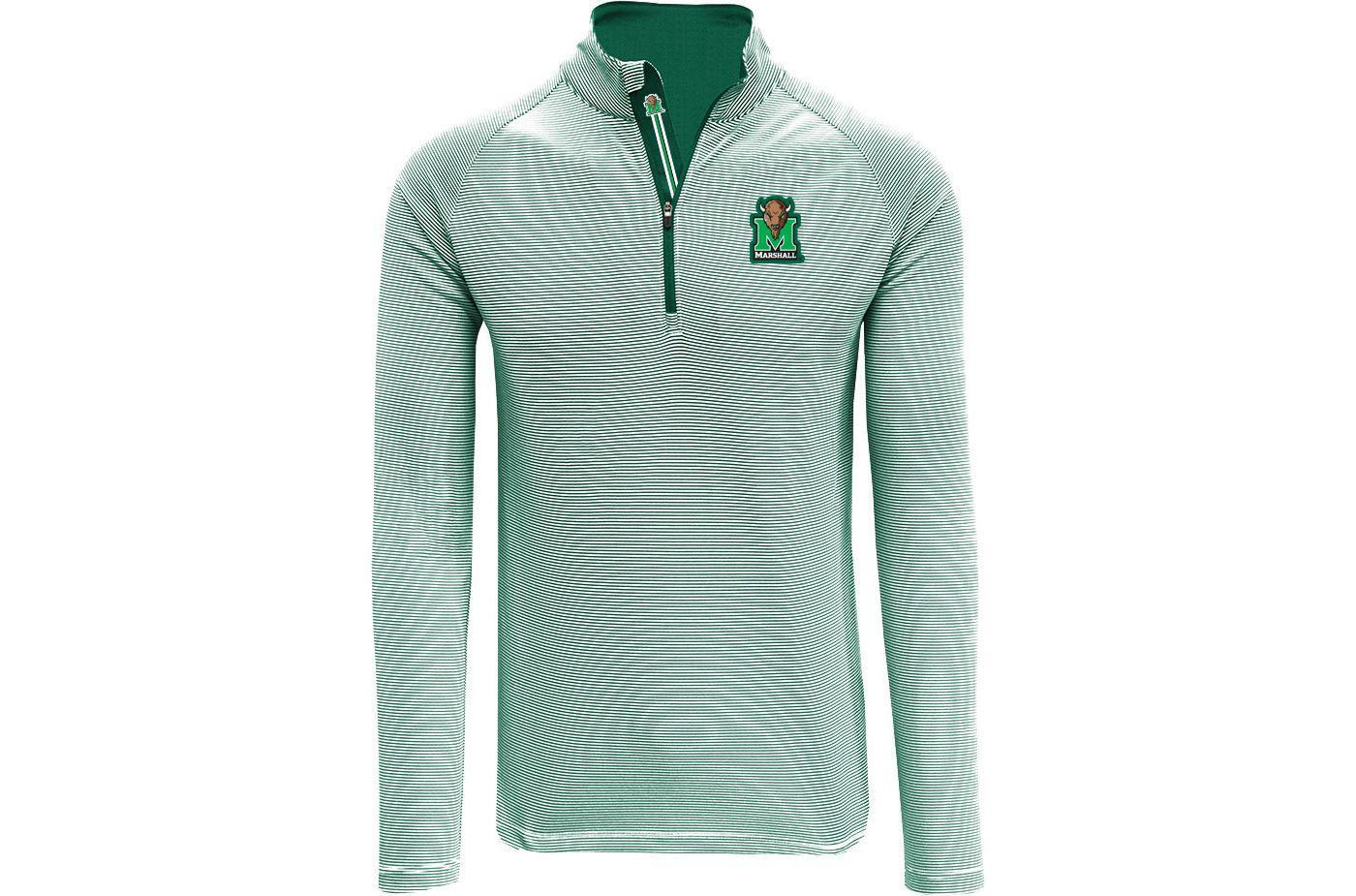 Levelwear Men's Marshall Thundering Herd Green Orion Quarter-Zip Shirt