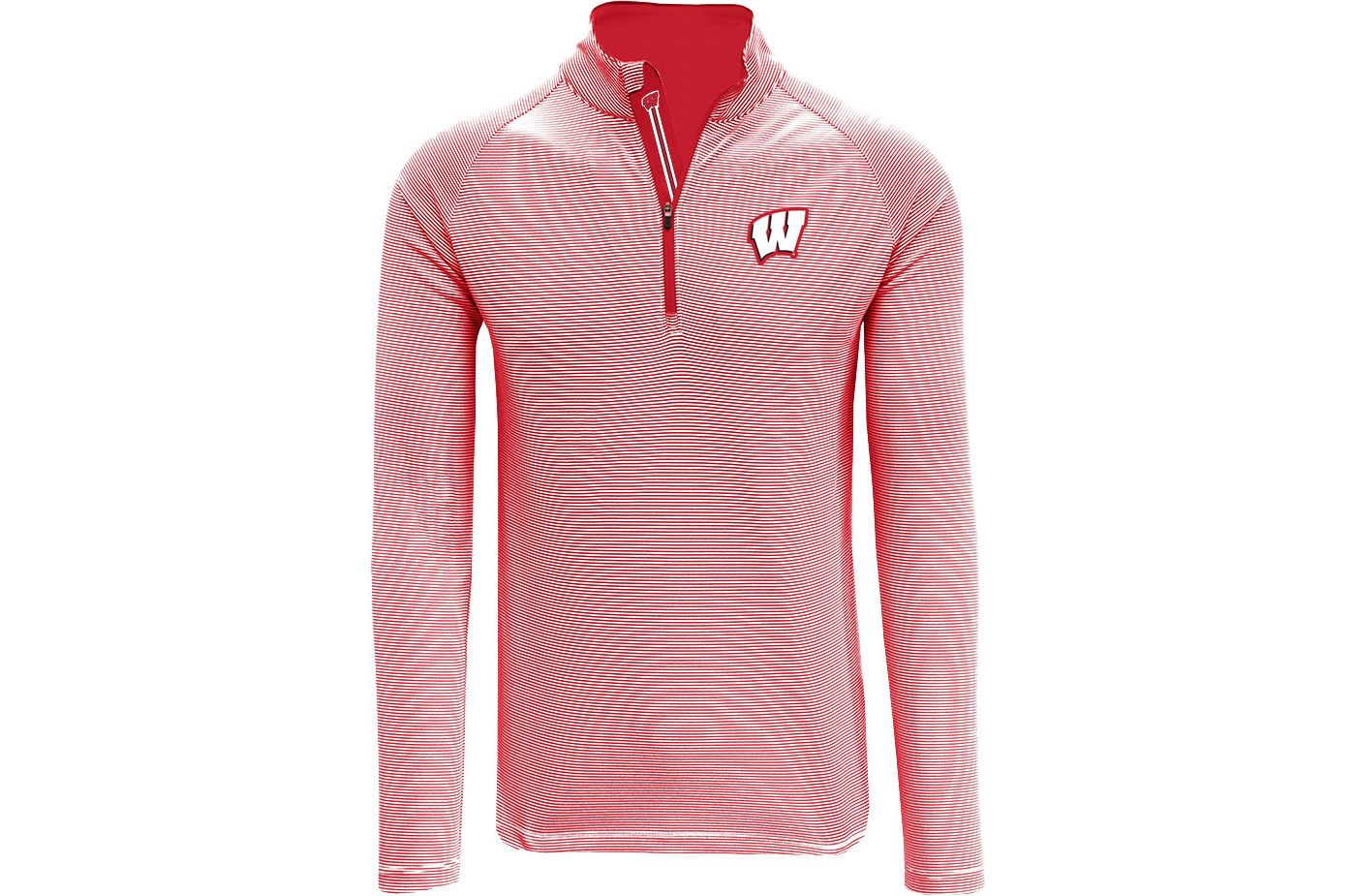 Levelwear Men's Wisconsin Badgers Red Orion Quarter-Zip Shirt