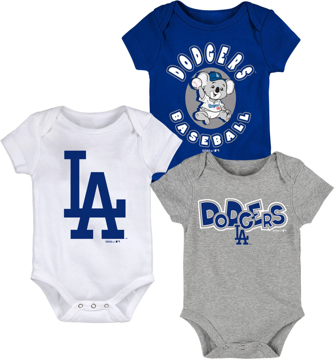 Gen2 Infant Los Angeles Dodgers 3-Piece Onesie Set
