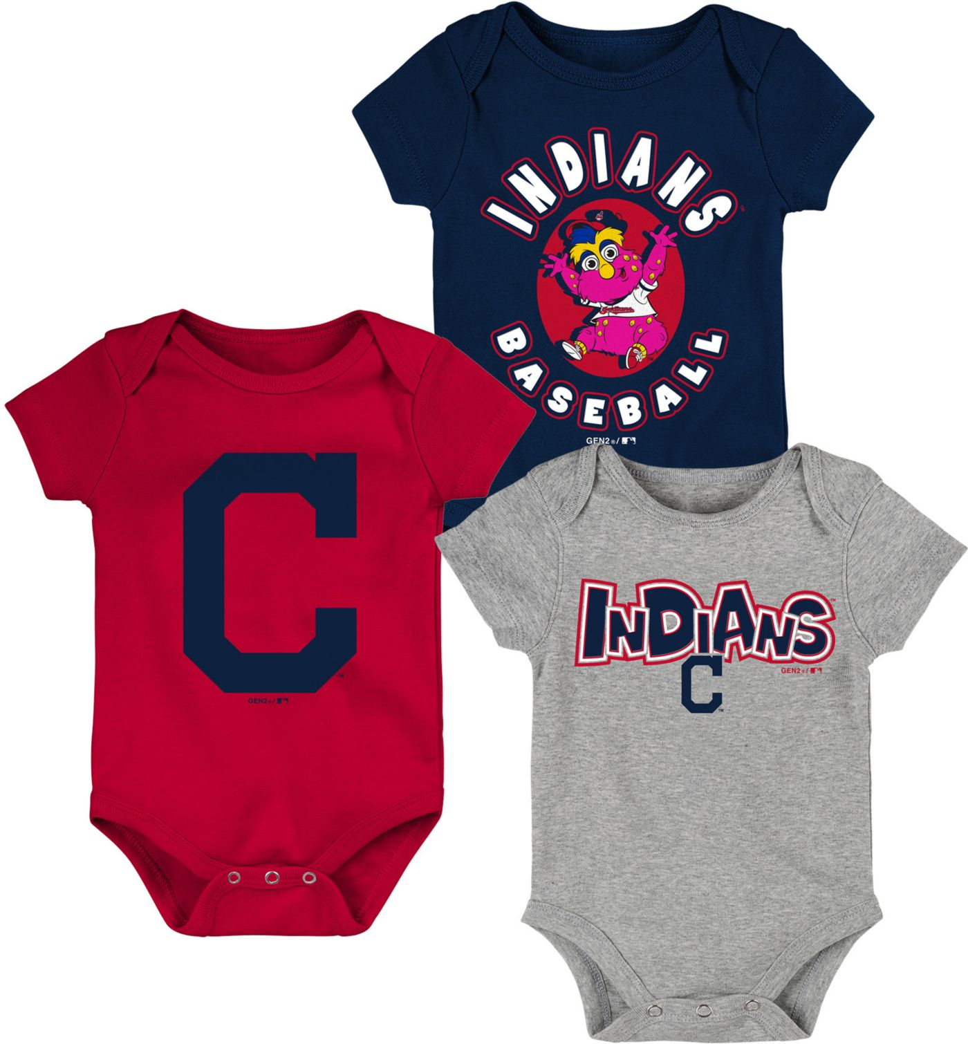 Gen2 Infant Cleveland Indians 3-Piece Onesie Set