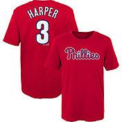 Majestic Boys' Philadelphia Phillies Bryce Harper #3 Red T-Shirt