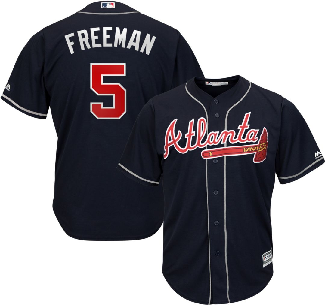 newest 04775 950ab Majestic Men's Replica Atlanta Braves Freddie Freeman #5 Cool Base  Alternate Navy Jersey