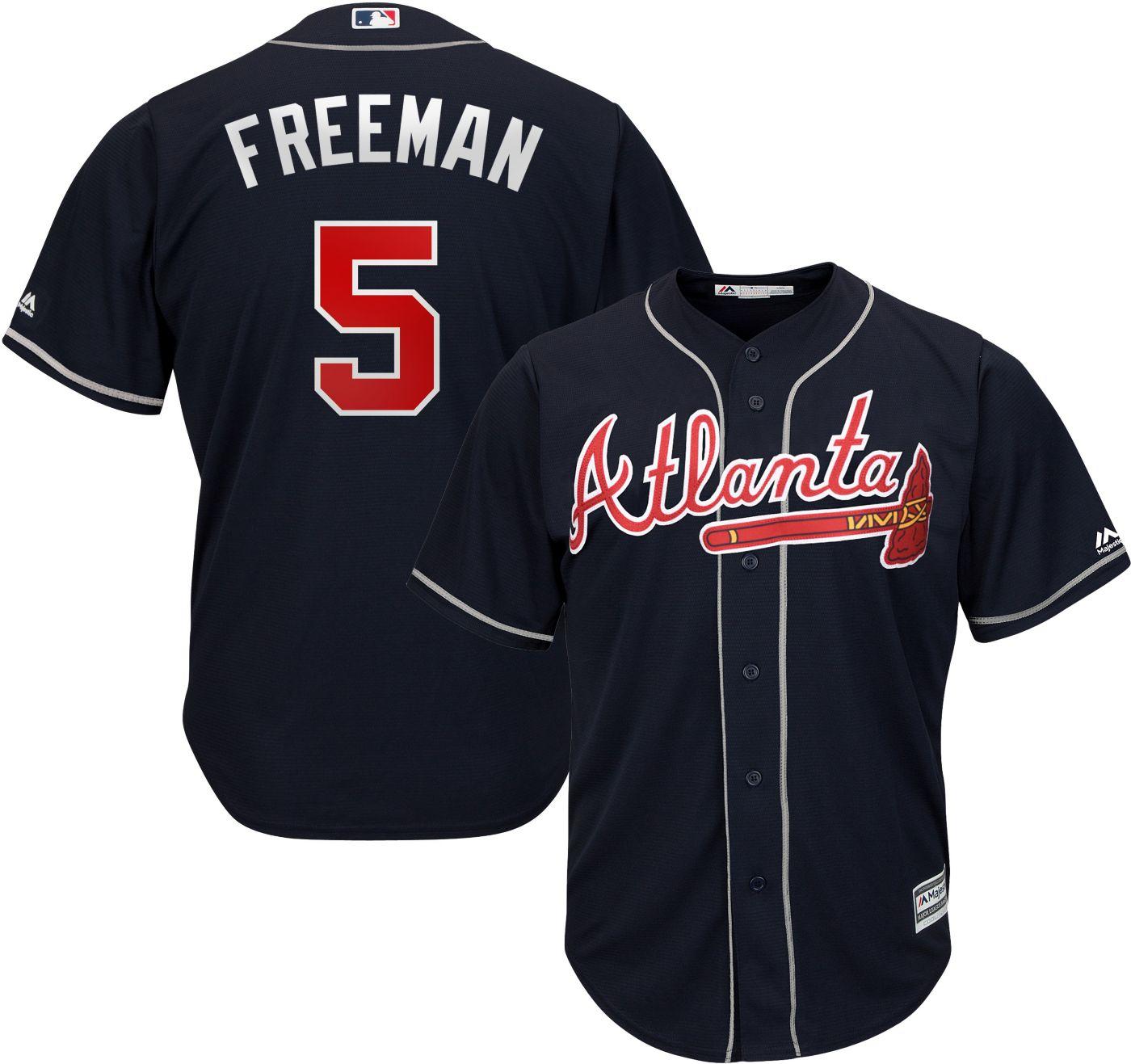 Majestic Men's Replica Atlanta Braves Freddie Freeman #5 Cool Base Alternate Navy Jersey