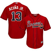 Majestic Men's Replica Atlanta Braves Ronald Acuna #13 Cool Base Alternate Red Jersey
