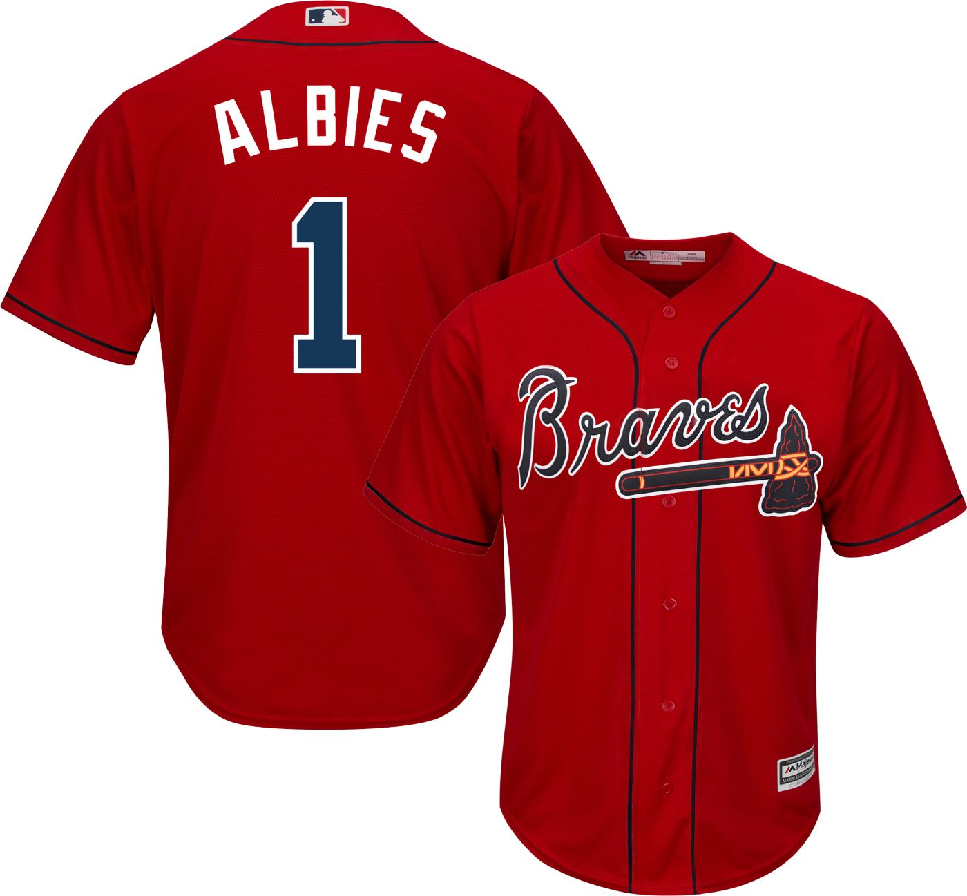Majestic Men's Replica Atlanta Braves Ozzie Albies #1 Cool Base Alternate Red Jersey