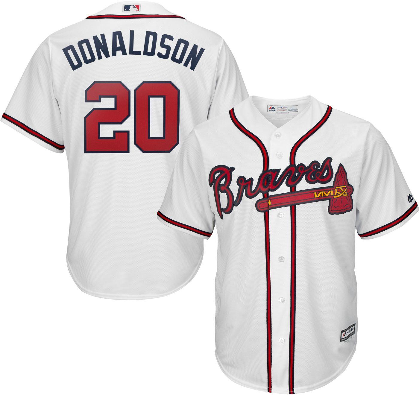 Majestic Men's Replica Atlanta Braves Josh Donaldson #20 Cool Base Home White Jersey