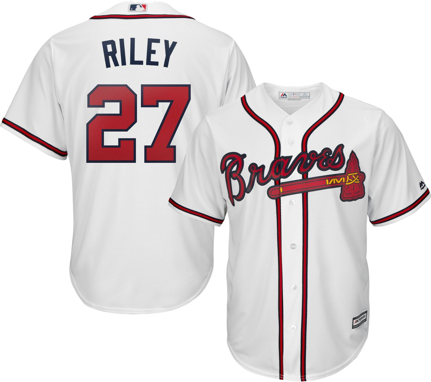 Majestic Men's Replica Atlanta Braves Austin Riley #27 Cool Base Home White Jersey