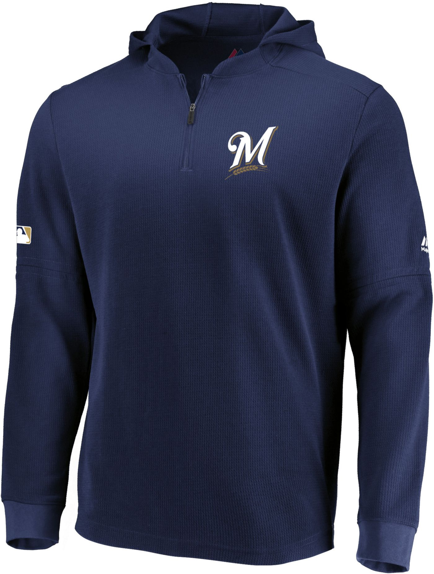 Majestic Men's Milwaukee Brewers Authentic Collection Batting Practice Waffle Hooded Pullover
