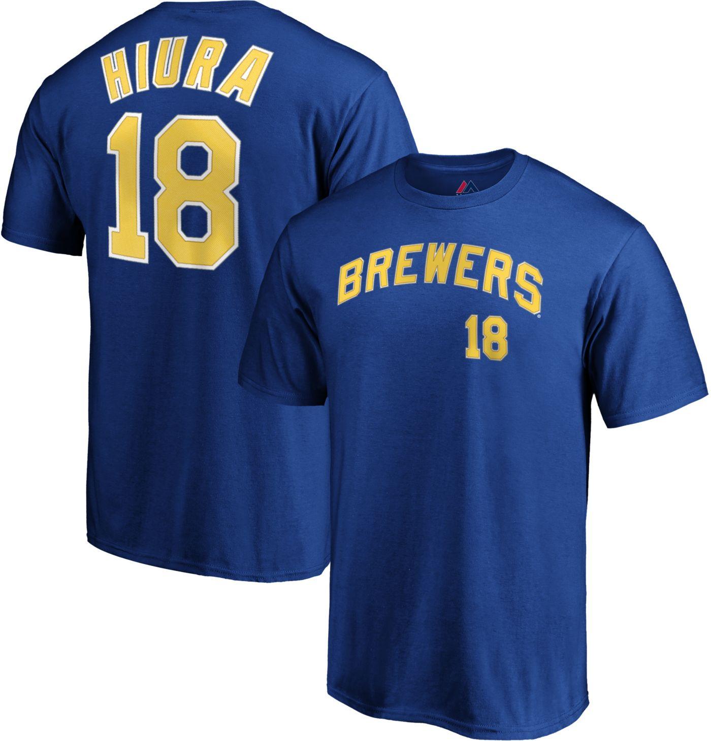Majestic Men's Milwaukee Brewers Keston Hiura #18 Royal T-Shirt