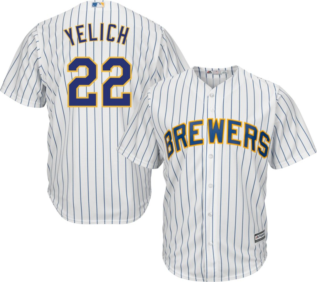 timeless design a988b 0b341 Majestic Men's Replica Milwaukee Brewers Christian Yelich #22 Cool Base  Alternate White Jersey