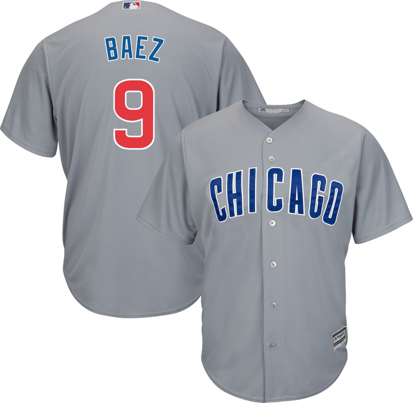 Majestic Men's Replica Chicago Cubs Javier Baez #9 Cool Base Road Grey Jersey