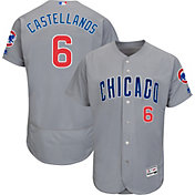 Majestic Men's Authentic Chicago Cubs Nick Castellanos #6 Flex Base Road Grey On-Field Jersey