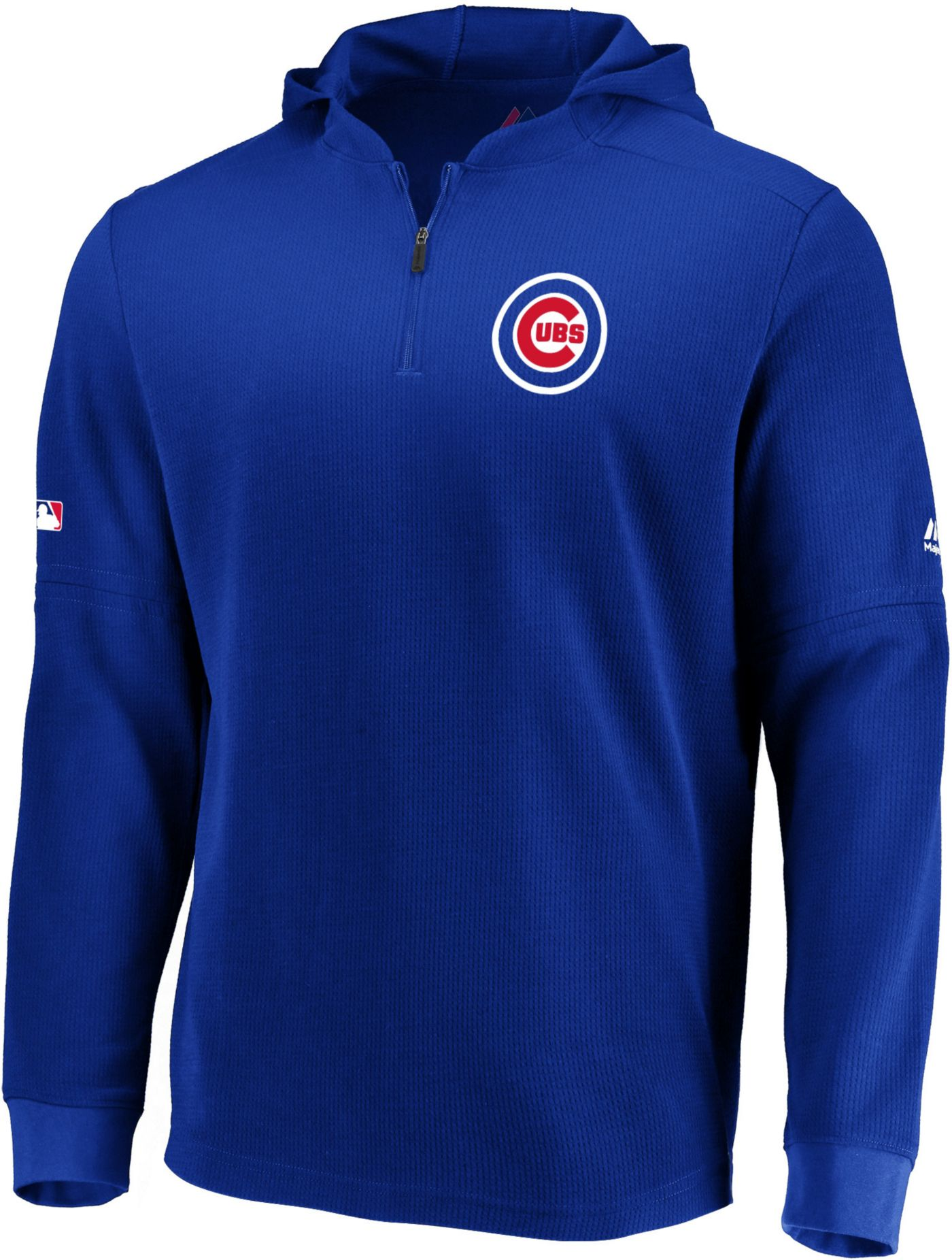 Majestic Men's Chicago Cubs Authentic Collection Batting Practice Waffle Hooded Pullover
