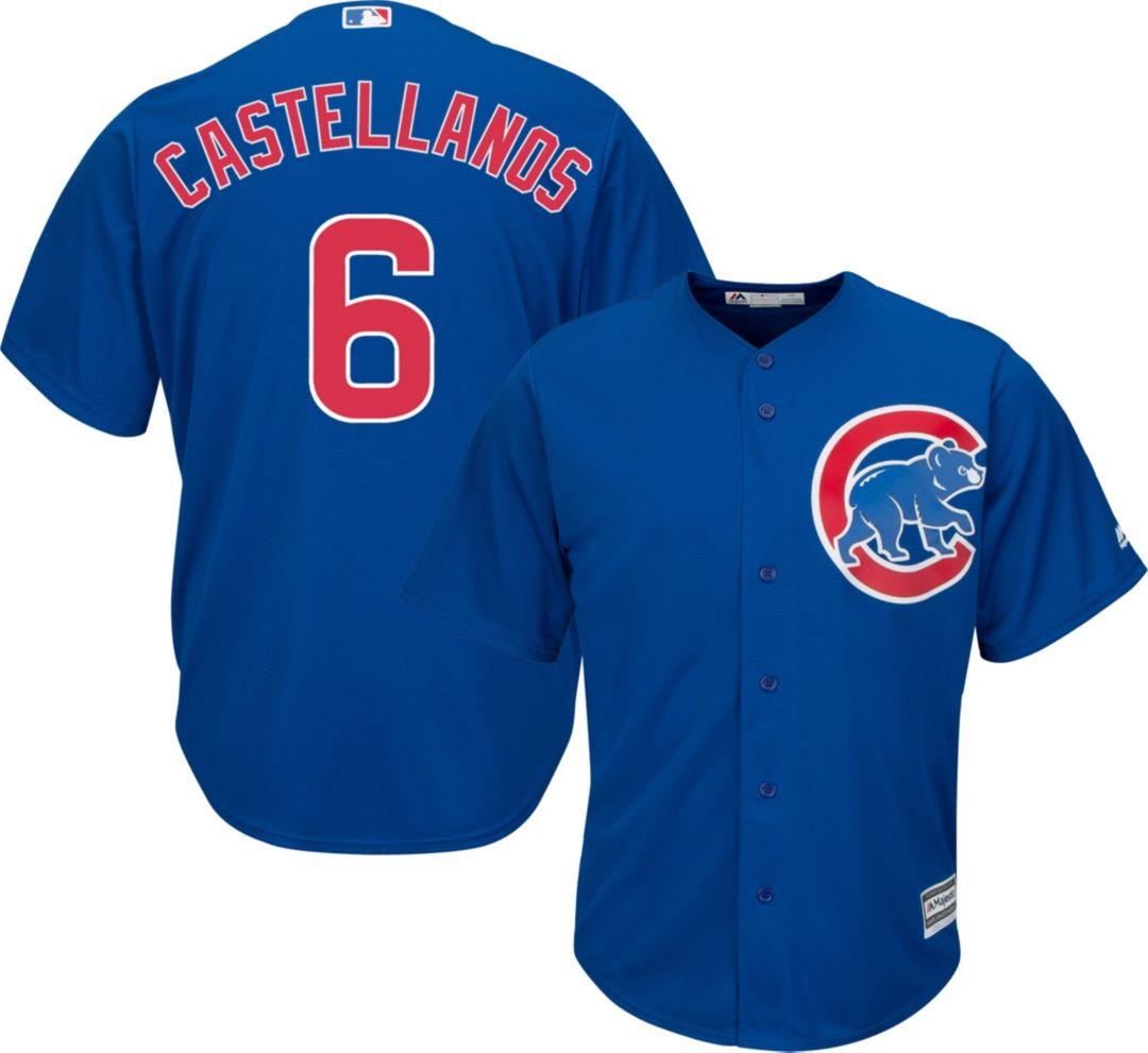 on sale 730bd 00340 Majestic Men's Replica Chicago Cubs Nick Castellanos #6 Cool Base Alternate  Royal Jersey