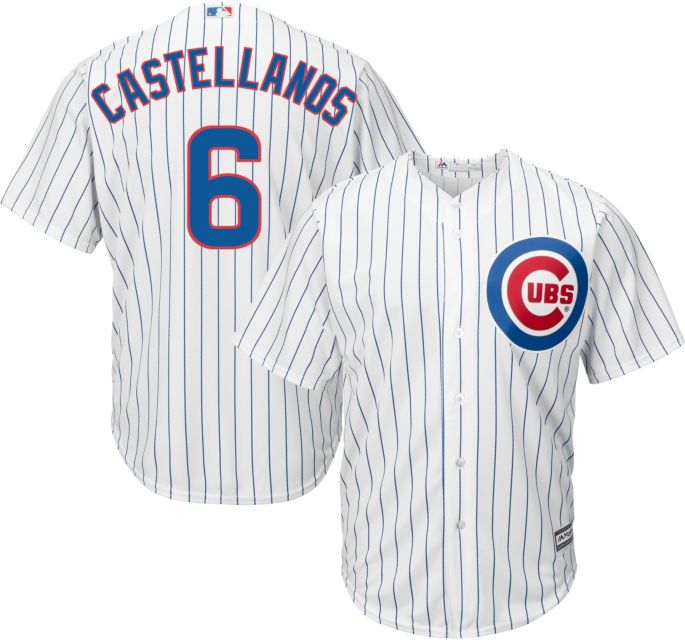huge sale 84b44 5b0b9 Majestic Men's Replica Chicago Cubs Nick Castellanos #6 Cool Base Home  White Jersey
