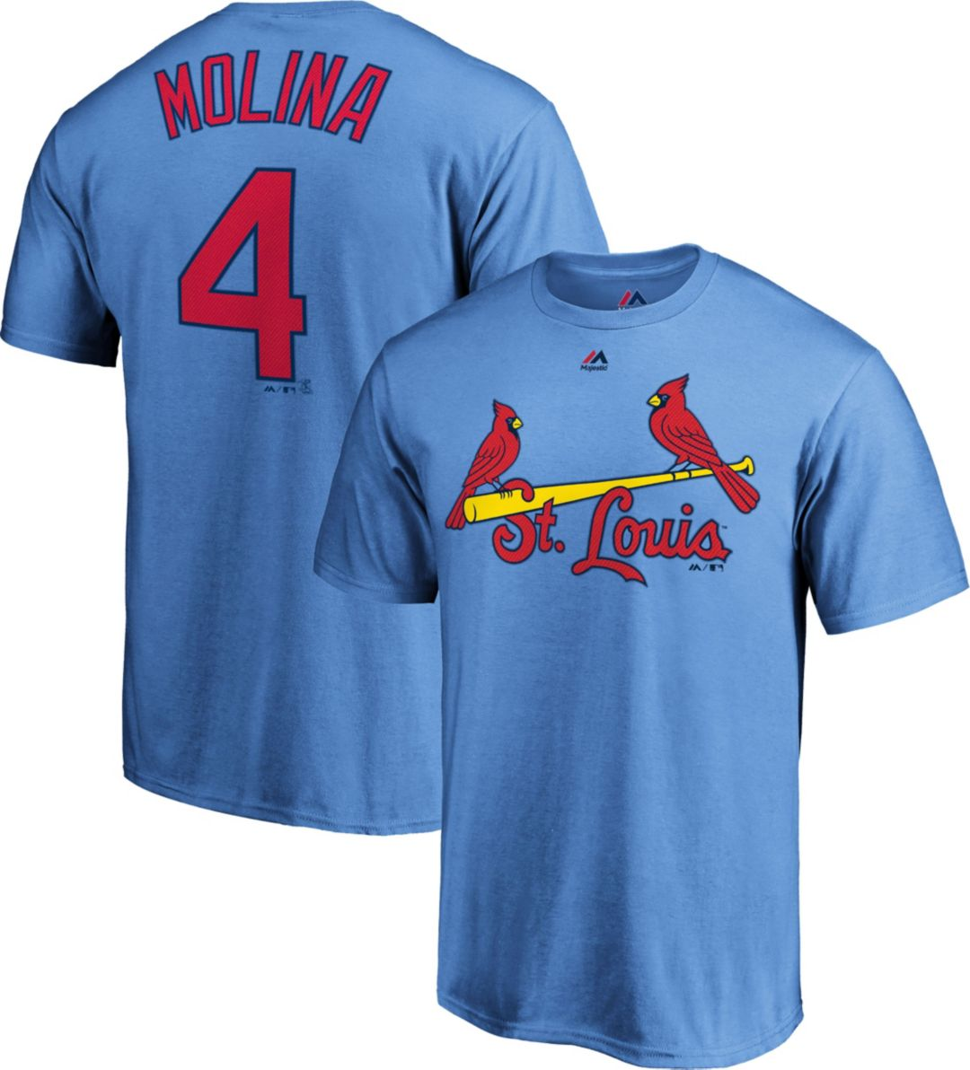 best service 41b3b 49ff5 Majestic Men's St. Louis Cardinals Yadier Molina #4 Light Blue T-Shirt