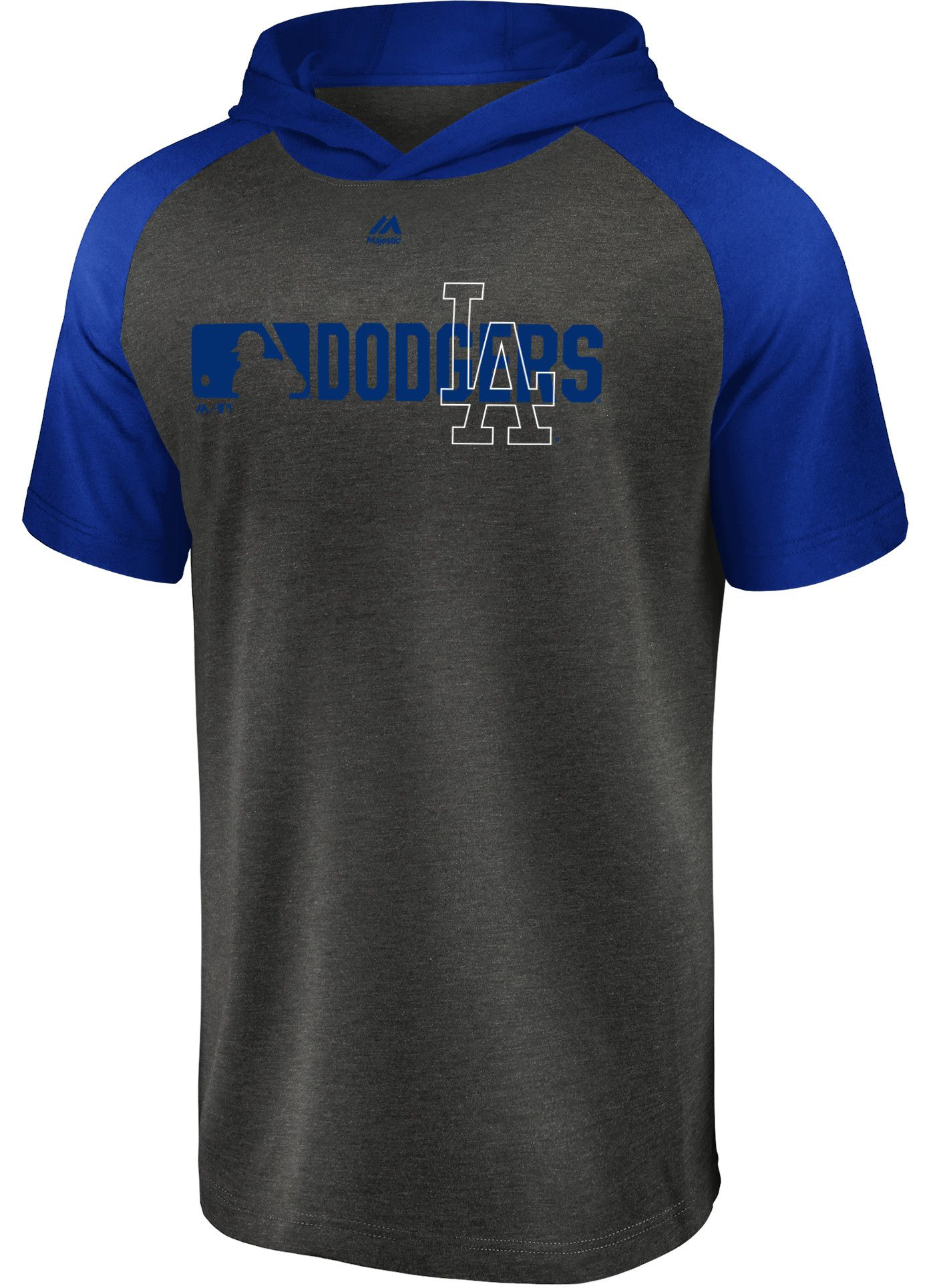 Majestic Men's Los Angeles Dodgers Authentic Collection Raglan Pullover Short Sleeve Hoodie