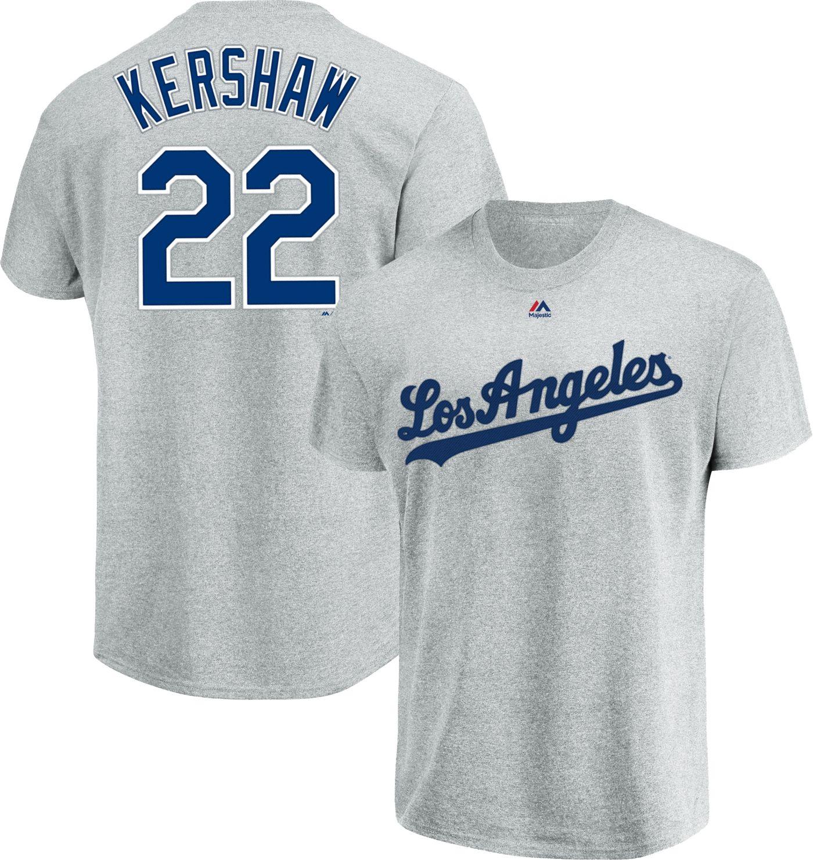 Majestic Men's Los Angeles Dodgers Clayton Kershaw #22 Grey T-Shirt