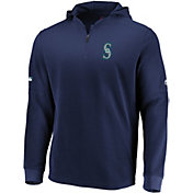 Majestic Men's Seattle Mariners Authentic Collection Batting Practice Waffle Hooded Pullover