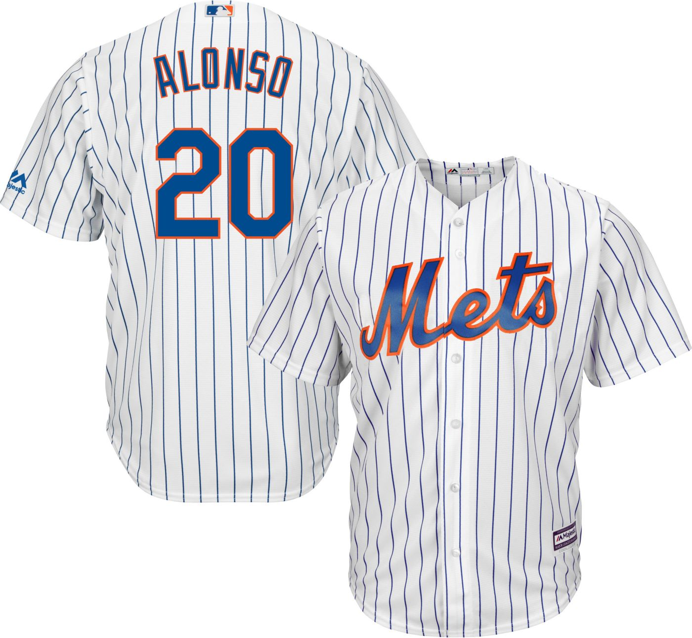 Majestic Men's Replica New York Mets Pete Alonso #20 Cool Base Home White Jersey