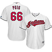 Majestic Men's Replica Cleveland Indians Yasiel Puig #66 Cool Base Home White Jersey