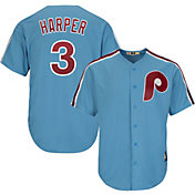 Majestic Men's Replica Philadelphia Phillies Bryce Harper #3 Cool Base Light Blue Cooperstown Jersey