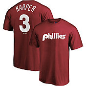 Majestic Men's Philadelphia Phillies Bryce Harper #3 Maroon T-Shirt