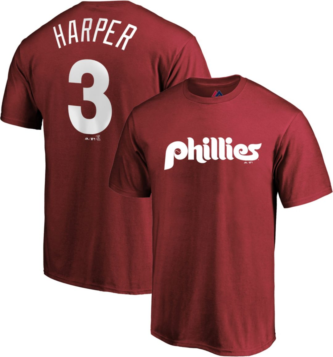 save off bb3dc ce47b Majestic Men's Philadelphia Phillies Bryce Harper #3 Maroon T-Shirt