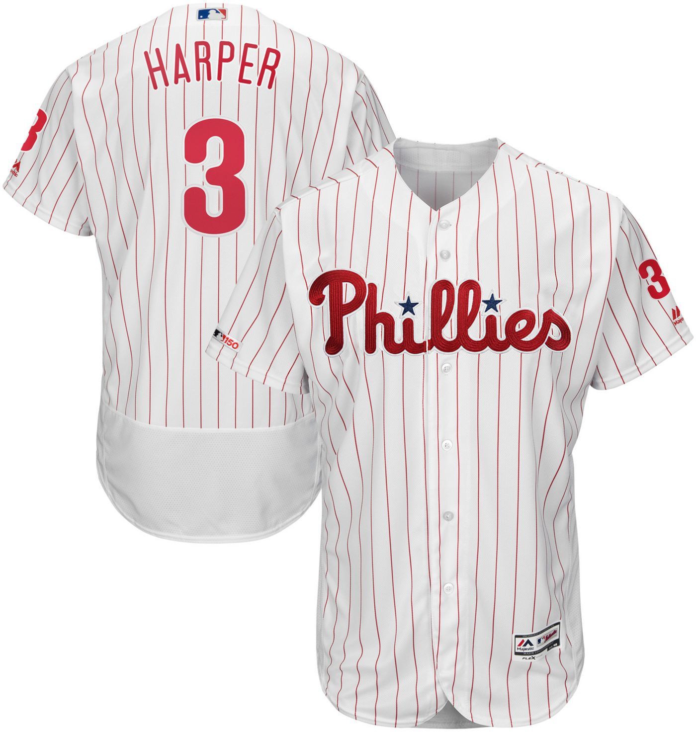 Majestic Men's Authentic Philadelphia Phillies Bryce Harper #3 Flex Base Home White On-Field Jersey