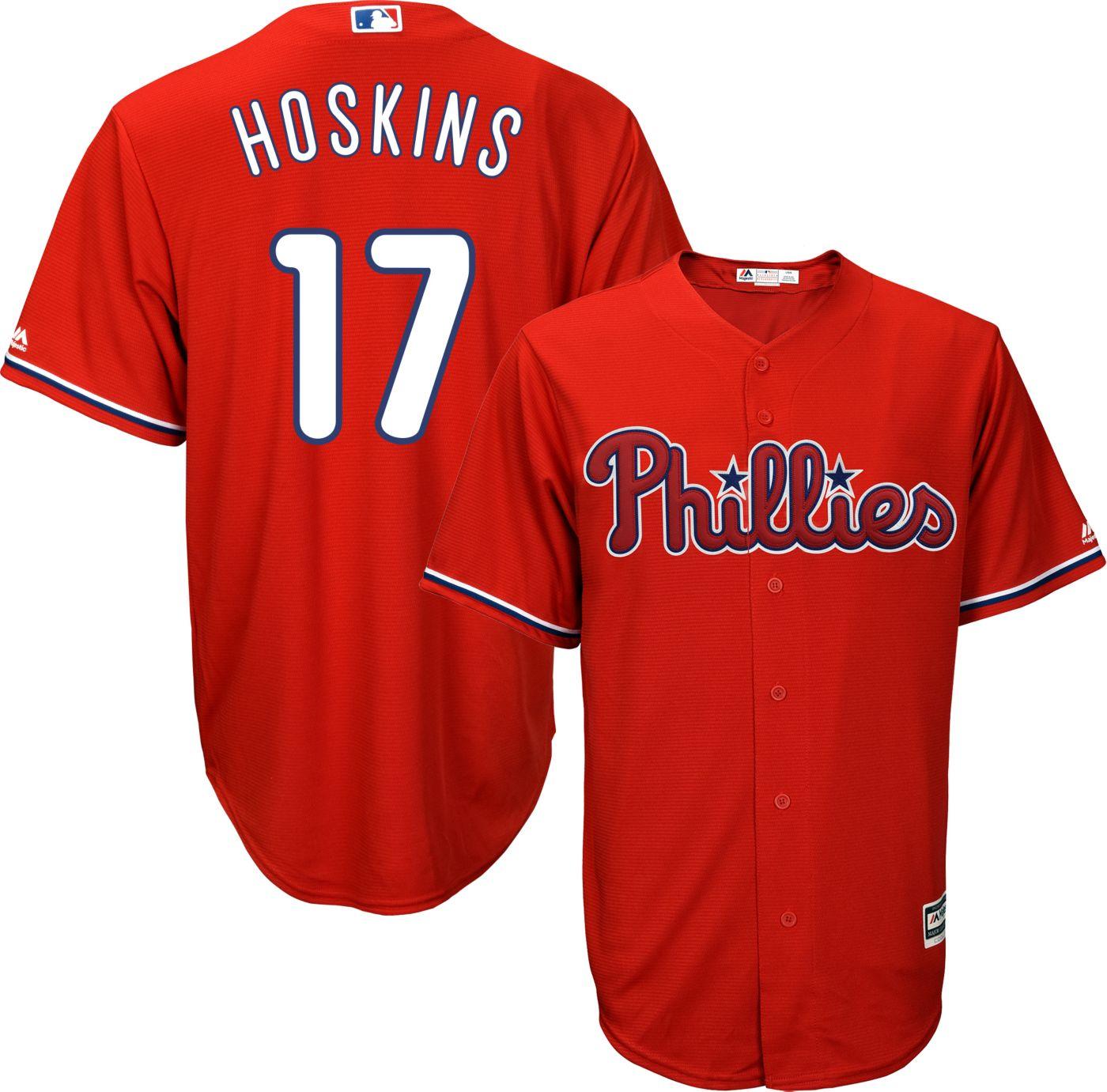 Majestic Men's Replica Philadelphia Phillies Rhys Hoskins #17 Cool Base Alternate Red Jersey